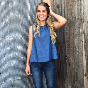 Madewell Inspired Button Back Chambray tank
